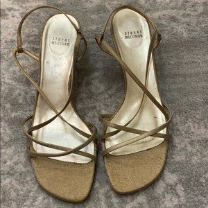 Stuart Weitzman Gold/Tan Strapped Sandals Sz 11.5